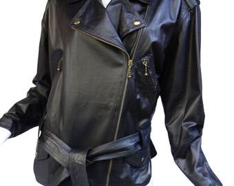 "ANDREA PFISTER Couture Vintage 80s Leather and Silk ""Motorcycle Biker"" Jacket SzM"