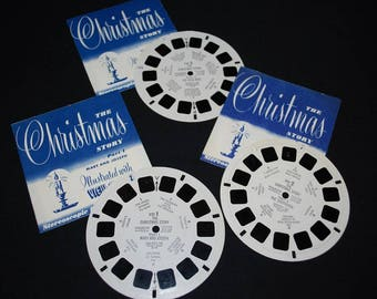 Vintage 1950's Sawyer's The Christmas Story View Master Complete 3 Reel Set with Booklets - Children's Story