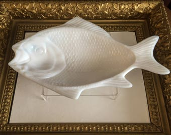Antique Early Milk Glass Atterbury Fish Tray c 1870s