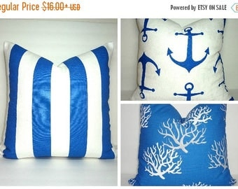 FALL is COMING SALE New Cobalt Blue Coral Pillow Cover Royal Blue Grey White Coral Stripe Anchor Nautical Pillow Covers All Sizes
