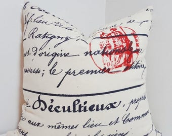 FALL is COMING SALE Navy French Script Pillow Penmanship Red Stamp Decorative Pillow Cover Throw Pillow All Sizes