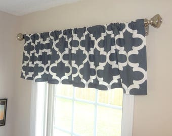 Curtain Valance Topper Window Treatment 52x15 Gunmetal Grey Fynn Geometric Moroccan Valance Home Decor by HomeLiving