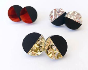 Small Split 16mm Round Stud - Laser Cut Acrylic Earring - Choose Your Own Colour - Each To Own Classic