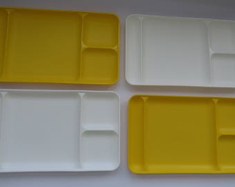 Tupperware Divided Picnic Cafeteria Trays - Set of 4 - Bright Yellow Pure White - Stackable Molded Plates Dishes - BBQ Camping RVing