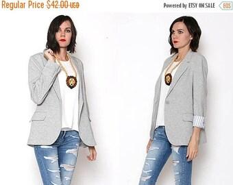 HUGE SALE Vintage 90s Boston Proper Gray Sweatshirt Material Blazer / Boyfriend Blazer / Work Casual / Medium
