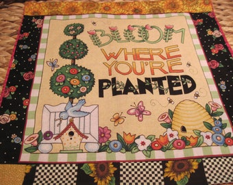 """14"""" x 14"""" PILLOW COVER - Mary Engelbreit's Saying Bloom Where You are Planted fabric"""