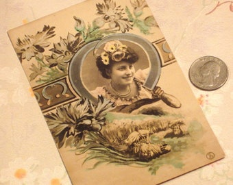 Antique Postcard European Lady