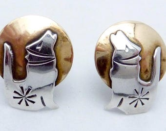 Vintage Sterling Silver Brass Coyote Howling at Moon Pierced Earrings 23653