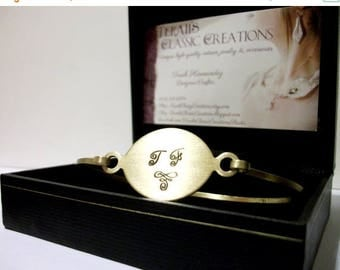 CLEARANCE SALE Personalized Metal Monogram Bracelet/Bangle in Gold or Silver Tones.  Woman's Gift.