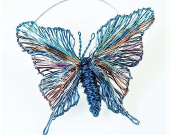 Butterfly brooch Cute pin Navy Blue Wire jewelry Insect brooch Butterfly art jewelry Autumn gift for women Modern boho Unique birthday gift