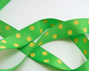 "CLEARANCE - 7/8"" Dotted Grosgrain Ribbon - Apple Green with Canary Yellow Dots - 50 yd Spool"