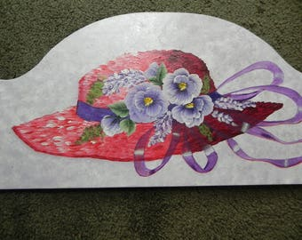 Red Hat Society Hand Painted Door Crown