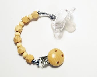 Wooden Dummy Clip - Pacifier Clip - Bead Dummy Chain - Wooden Beads - Teething Beads with Timber Clip