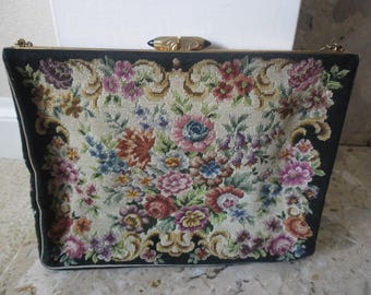 Vintage Floral Tapestry Evening Bag and Coin Purse