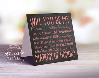 Will You Be My Matron of Honor Card, Printable Matron of Honor Proposal Card, Pink Chalkboard Card, INSTANT DOWNLOAD by Event Printables