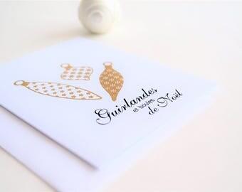 Cartes de Voeux de Noël, Boules de Noël Dorées, Guirlandes et Boules de Noël, Christmas Cards in French, Handmade Holiday Cards
