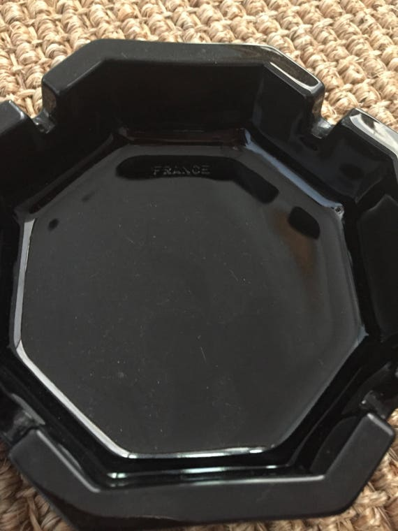 Vintage French Black Glass Ashtrays
