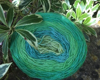 """100gms hand painted fingering weight gradient  cake  yarn. """" green fields"""""""