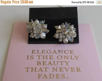 Vintage Vendome Cluster earrings with Rhinestones and AB Stones/ Bride/Prom