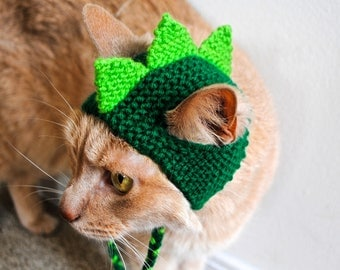 Dinosaur Cat Hat - Lime and Green - Hand Knit Cat Hat - Cat Halloween Costume (READY TO SHIP)