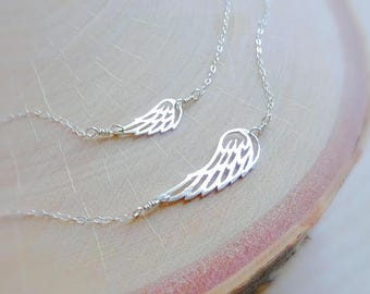 Angel wing necklace set, Mother daughter, mommy and me, big and little necklace, mommy and me, matching set, new mom, sterling silver
