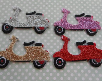 Iron on Embroidered Italian Vespa Scooter Glittered