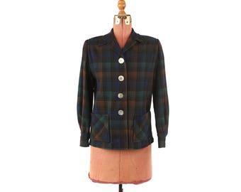 Vintage 1950's Pendleton Dark Green + Brown Plaid All Wool Flannel Jacket M