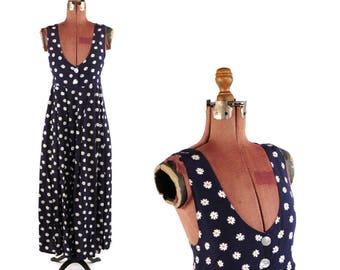 Vintage 1990's Empire Waist Rayon Navy Blue + White Floral Daisy Print Tea Length Grunge Pocket Dress S