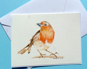 "Original watercolor, Gift Card/Note Card, Blank Inside, Robin - 6""x4.5"""