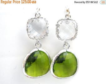 SALE Green Earrings, Peridot Earrings, Apple Green Earrings, Silver Crystal Clear, Wedding, Bridesmaid Earrings, Bridal Jewelry, Bridesmaid