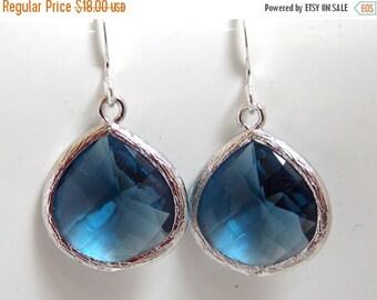 SALE Blue Earrings, Silver Earrings, Dark Blue, Navy Blue, Montana Blue, Glass, Bridesmaid Earrings, Bridal Earrings Jewelry, Bridesmaid Gif