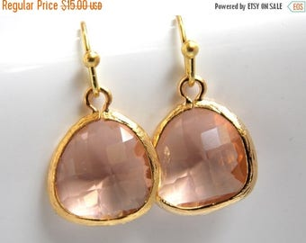 SALE Peach Earrings, Glass, Gold Earrings, Champagne, Blush, Nude, Bridesmaid Earrings, Bridal Earrings Jewelry, Bridesmaid Gifts