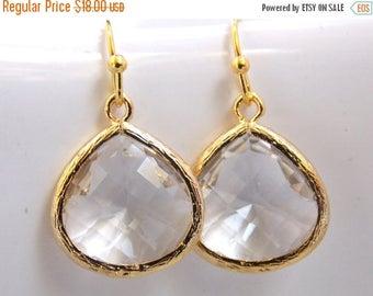 SALE Crystal Earrings, Clear Earrings, Glass Earrings, Transparent, White, Gold, Bridesmaid Earrings, Bridal Earrings, Bridesmaid Gifts