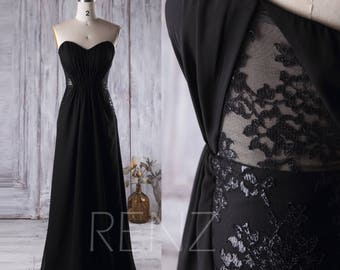 2017 Black Chiffon Bridesmaid Dress, Strapless Lace Wedding Dress, Backless A Line Prom Dress, Long Evening Gown Floor Length (L158)