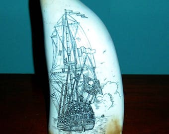 SPERM WHALE Tooth Faux (resin)  HUGE tooth showing Pirate Ship and Capt. Kidd