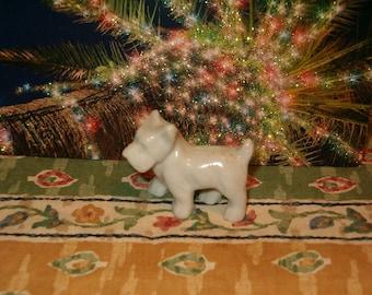 "Old World Figurine, Tiny Bisque Scotty, 1 3/4""L, All White, No Maker Marks, Vintage Shiny Finish"