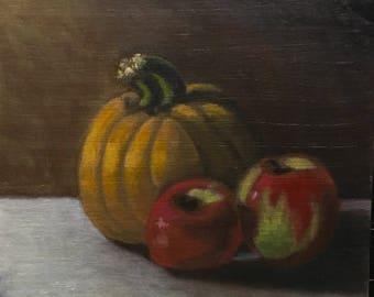 "Original Apple and Pumpkin Still Life 8x10 Oil Painting ""In Season"""