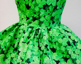 Lucky Clovers, St. Patrick's Day Sleeveless Dress for Your 18 Inch Doll A