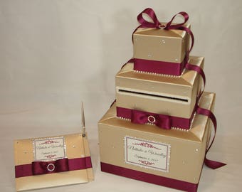 Champagne and Burgundy Wedding Card Box and matching Guest Book and Pen