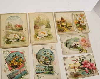 7 antique Victorian cards with roses flowers scenes early 1900s ephemera lot old paper scrap art supplies vintage floral design v24