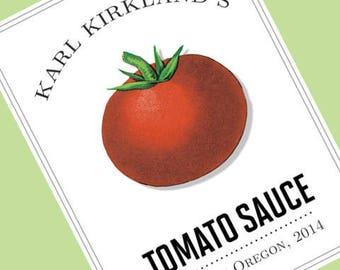 Tomato Label, Tomato Sauce, Tomato Tag, Personalized set of 18