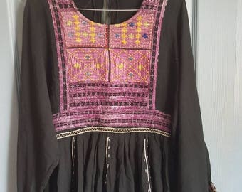 Pakistani top, embroidered top, vintage loose top, hippy top