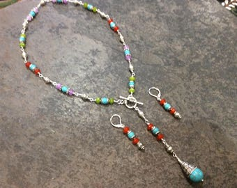 CLEARANCE Beaded gemstone Y necklace with Turquoise, Jade and Carnelian beads Beaded gemstones toggle necklace and earrings set