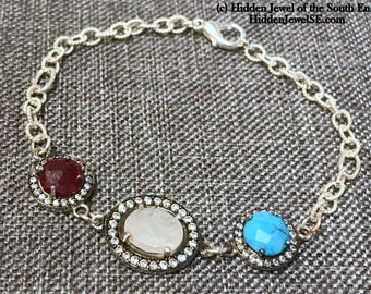 Ruby, Turquoise + Moonstone Bracelet, Red White and Blue Coin Drop Bracelet, CZ Pave Bracelet, Independence Day, 4th of July (B84)
