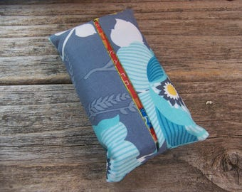 Kleenex travel tissue case in pretty blue with flowers fabric , very romantic kleenex cover , pocket tissue , travel tissue, kleenex case