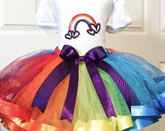 Rainbow Tutu - Girl Tulle Tutu - Toddler Birthday Tutu - Personalized Birthday Tutu Set - Unicorn Birthday Outfit - Tutu Skirt - Tulle Skirt