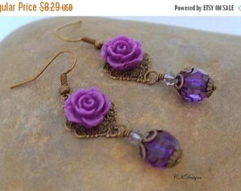 CIJ Vintage Style Drop Earrings, Flower Dangle Pierced or Clip-on Earrings, Vintage Style Jewelry, Romantic Jewelry, Gift for Her, CKDesigns