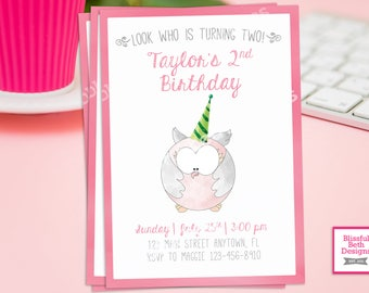 OWL BIRTHDAY INVITATION, Pink Owl Birthday Invitation, Owl Birthday Invite, Owl Birthday Invitation, Owl, Owl Birthday, Look Who Is 2