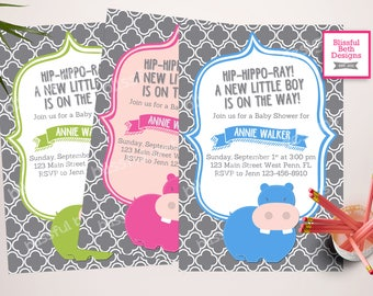 HIP-HIPPO-RAY  Baby Shower Invitation, Personalized Hippo Baby Shower Invitation, Hippo Pink Baby Shower, Hippo Blue Baby Shower, Hippo
