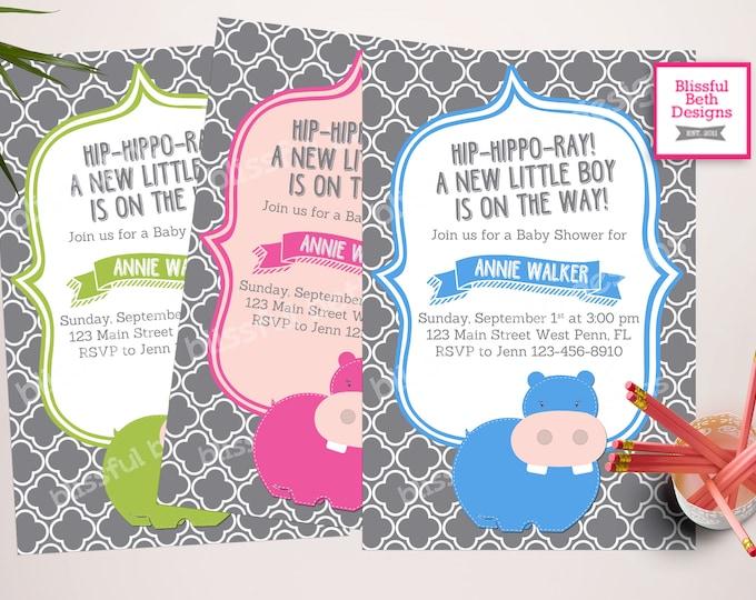 HIP-HIPPO-RAY  Baby Shower Invitation, Personalized Hippo Baby Shower Invitation, Hippo Pink Baby Shower, Hippo Blue Baby Shower, Hippo